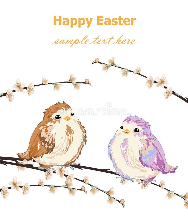 La tarjeta de pascua feliz con los pequeños gorriones lindos modela vector Fondos retros de la primavera del vintage ilustración del vector