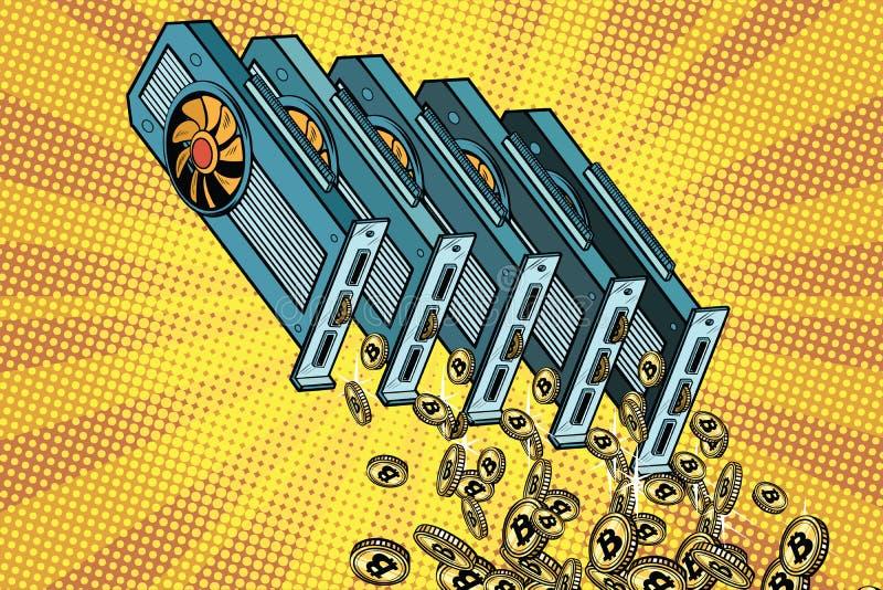 La tarjeta de vídeo vierte el bitcoin del cryptocurrency ilustración del vector