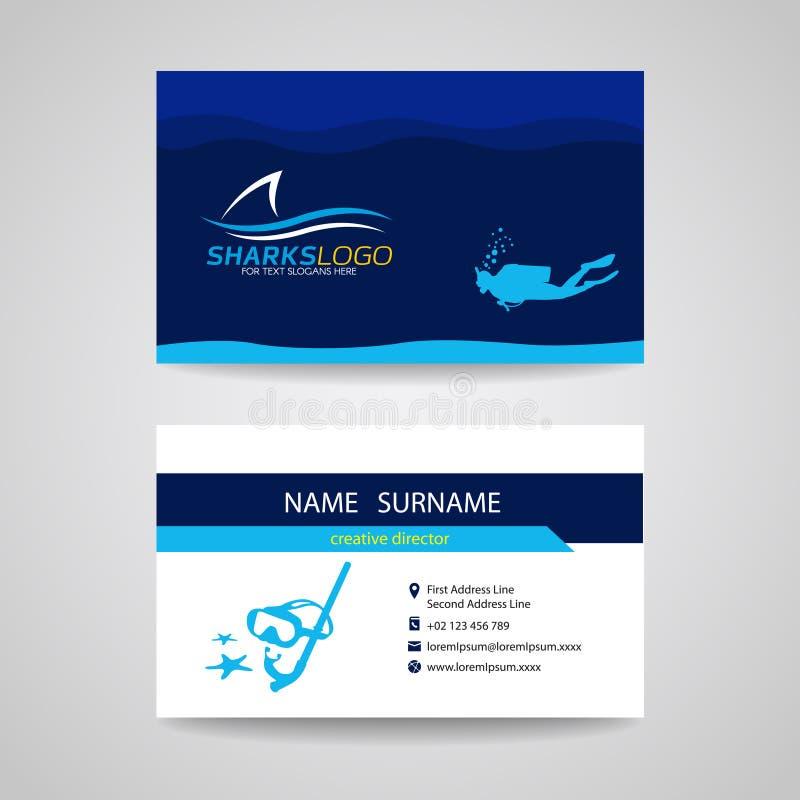 La tarjeta de visita del buceo con escafandra y el vector azul del tiburón diseñan ilustración del vector