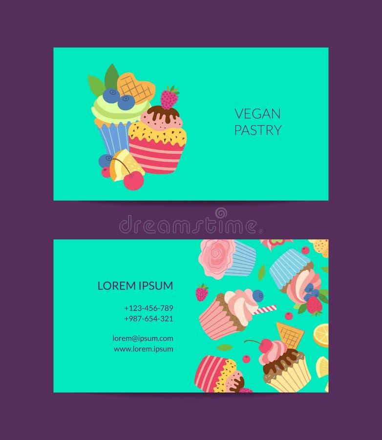 La tarjeta de visita linda de las magdalenas de la historieta del vector aisló stock de ilustración