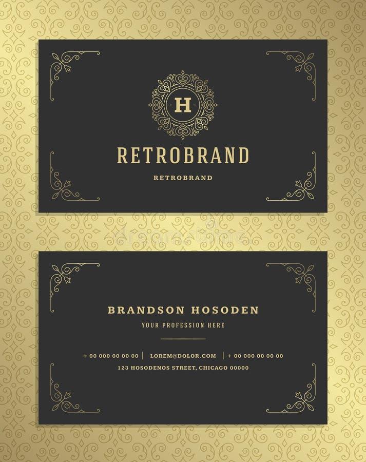 La tarjeta de visita de lujo y el vintage de oro adornan la plantilla del vector del logotipo stock de ilustración