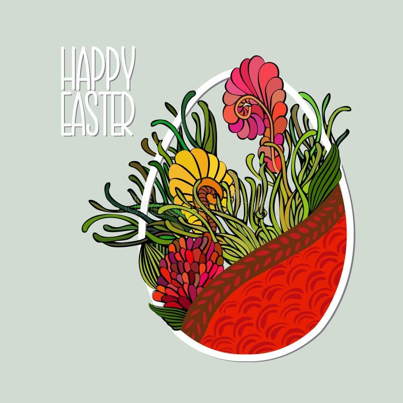 La tarjeta decorativa con el huevo de Pascua le gusta la cesta con las flores doodle ilustración del vector