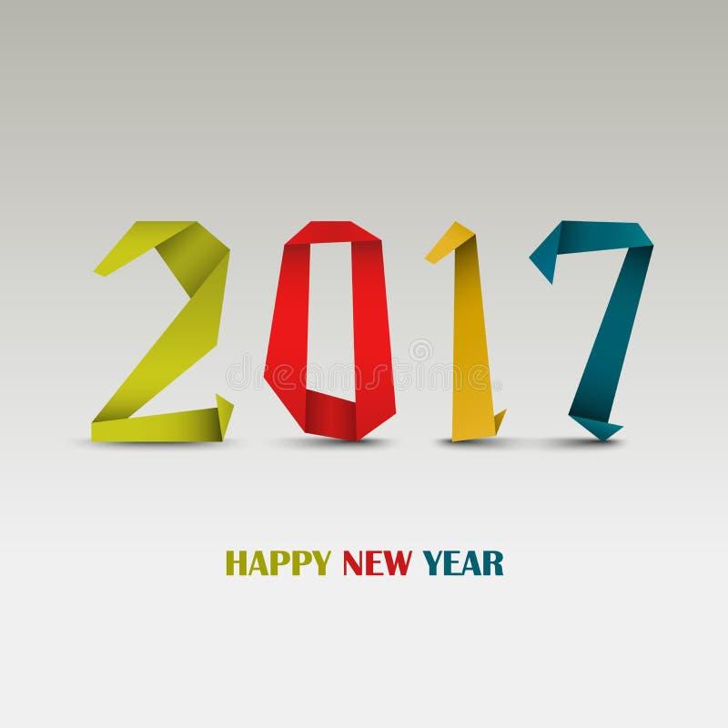 La tarjeta del Año Nuevo con el extracto coloreado dobló la plantilla de papel libre illustration