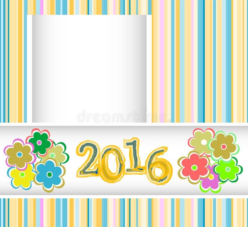 La tarjeta del Año Nuevo 2016 con las flores fijó, tarjeta de la invitación del día de fiesta de la Navidad ilustración del vector