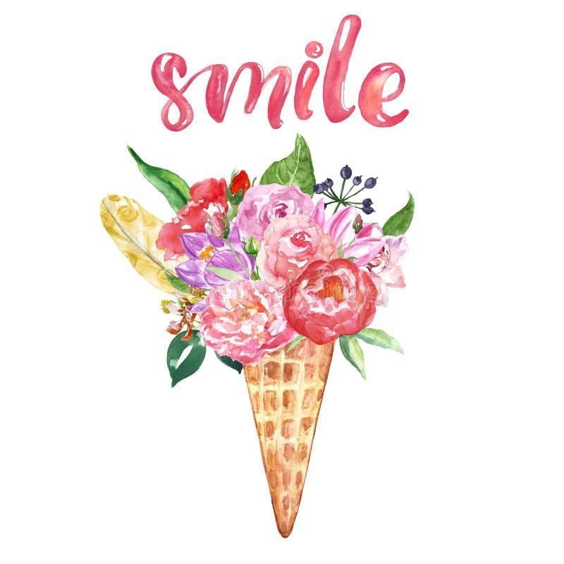 La tarjeta del cono de helado de la flor, ejemplo floral del verano de la acuarela, se ruboriza peon?a y las rosas rosadas Decora stock de ilustración