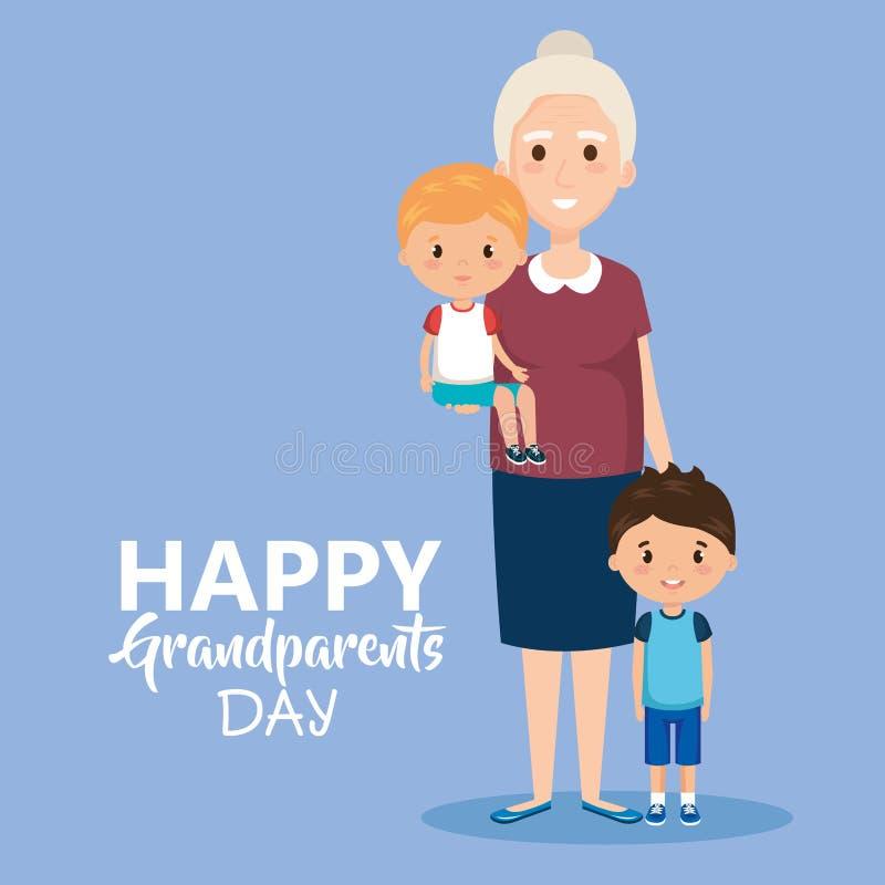 La tarjeta del día de los abuelos con la abuela y geandchildren ilustración del vector
