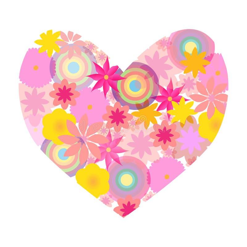 La tarjeta del día de San Valentín de la primavera florece el corazón aislado en el fondo blanco stock de ilustración