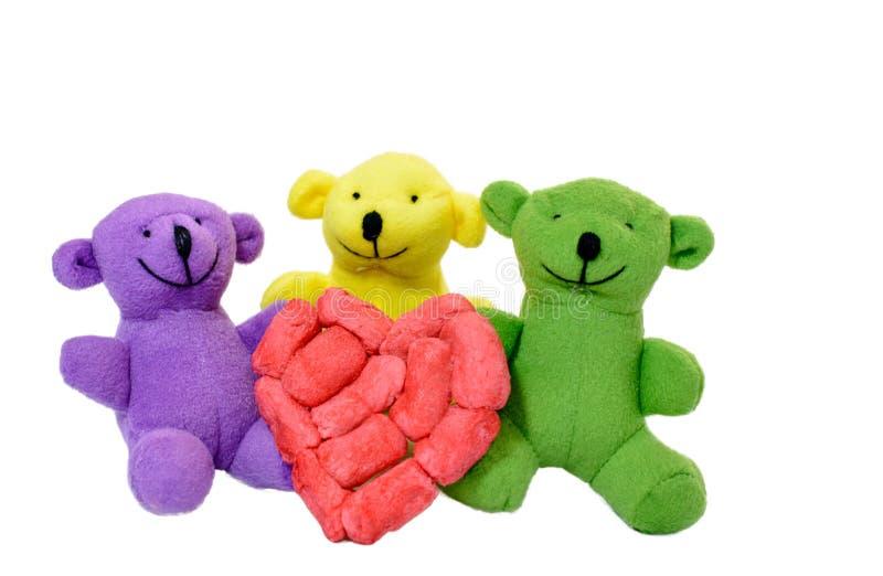 La tarjeta del día de San Valentín de tres osos fotos de archivo libres de regalías