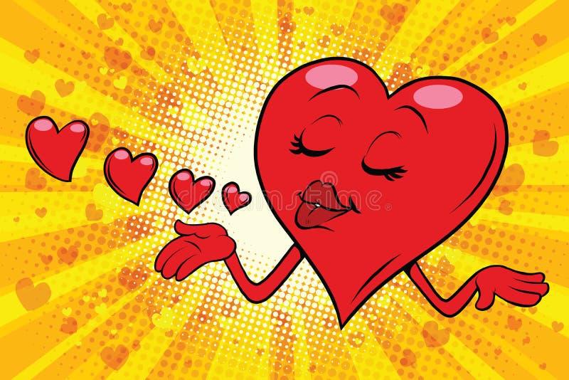 La tarjeta del día de San Valentín del corazón envía un beso ilustración del vector