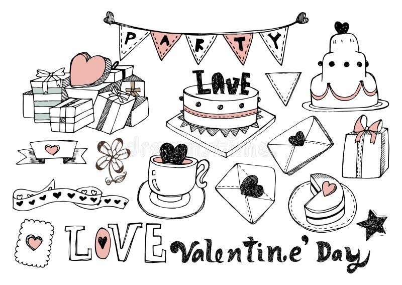 La tarjeta del día de San Valentín dibujada mano fijó 01 ilustración del vector