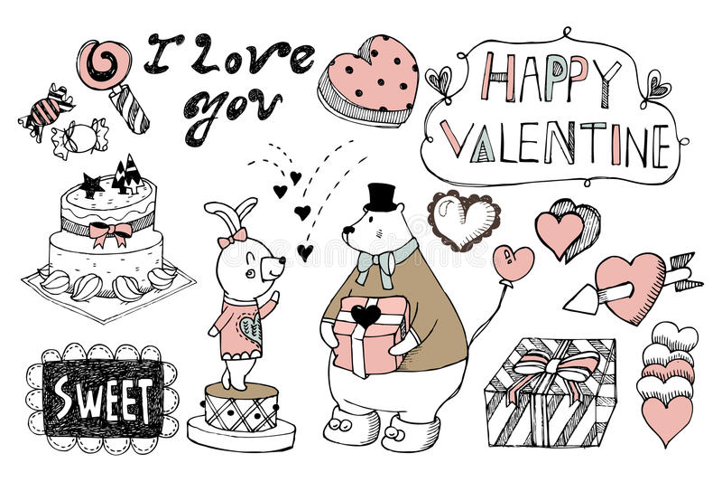 La tarjeta del día de San Valentín dibujada mano fijó 02 ilustración del vector
