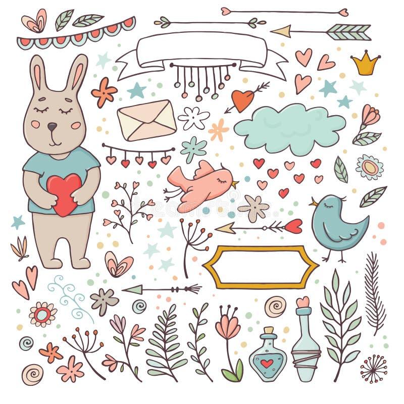 La tarjeta del día de San Valentín linda fijó - conejito divertido y los garabatos ilustración del vector