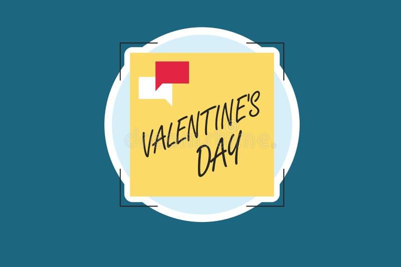 La tarjeta del día de San Valentín s del texto de la escritura de la palabra es día Concepto del negocio por el tiempo en que la  ilustración del vector