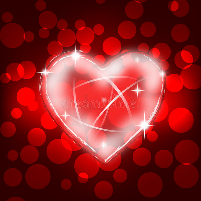 La tarjeta del día de San Valentín shinny la tarjeta de la dimensión de una variable del corazón ilustración del vector