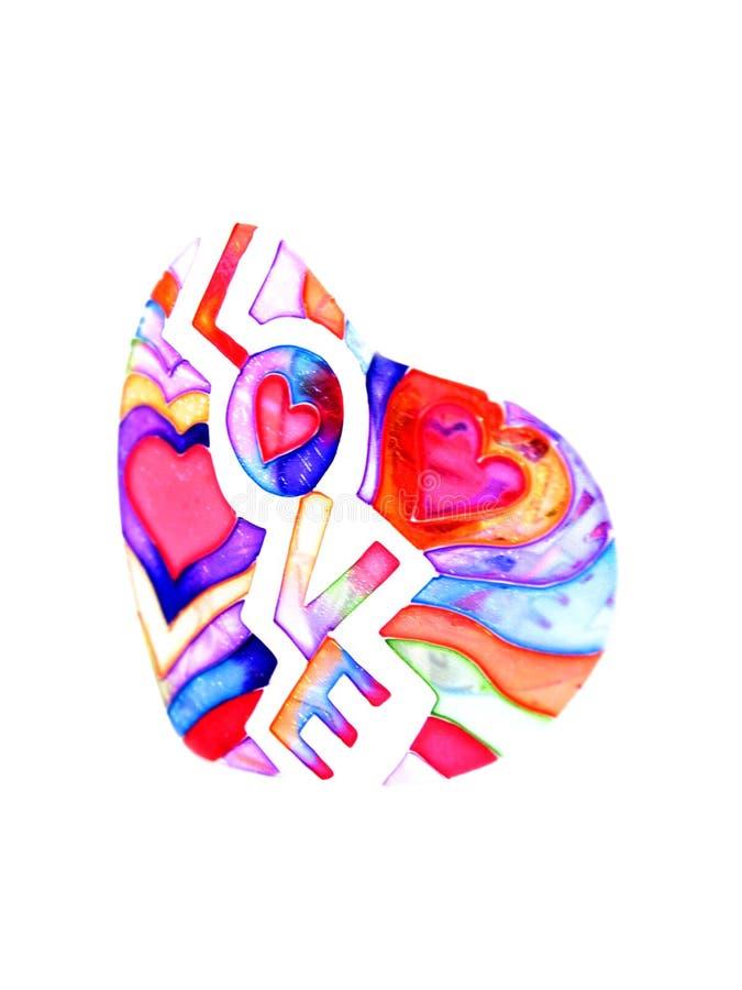 La tarjeta del día de tarjeta del día de San Valentín con el corazón y la palabra aman ilustración del vector