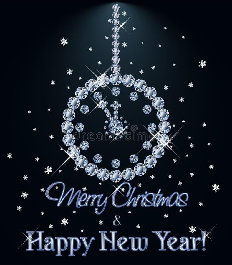 La tarjeta del diamante de la Feliz Navidad y de la Feliz Año Nuevo con Navidad registra, vector stock de ilustración