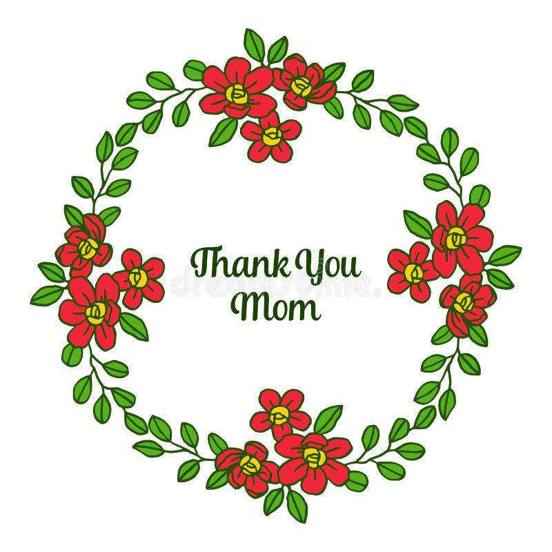 La tarjeta del estilo del ejemplo del vector le agradece mam? con el marco anaranjado de la flor de la textura ilustración del vector