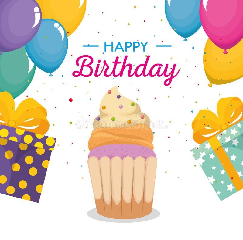 La tarjeta del feliz cumpleaños con la magdalena y los globos ventilan stock de ilustración