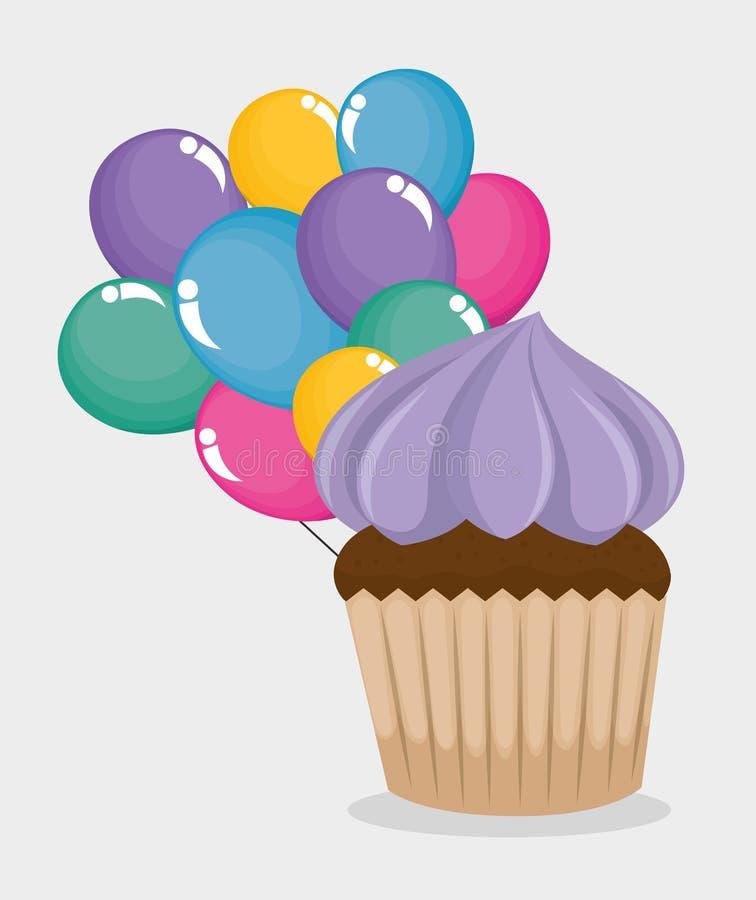 La tarjeta del feliz cumpleaños con la magdalena y los globos ventilan ilustración del vector