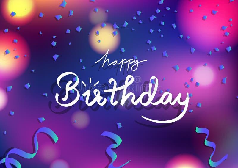 La tarjeta del feliz cumpleaños, las cintas azules de la fantasía dispersa y el concepto de papel de la explosión, fondo abstract ilustración del vector