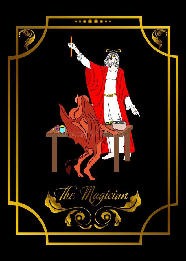 La tarjeta del hombre del mago es tarjeta mágica para el taro con el hombre 3 ilustración del vector