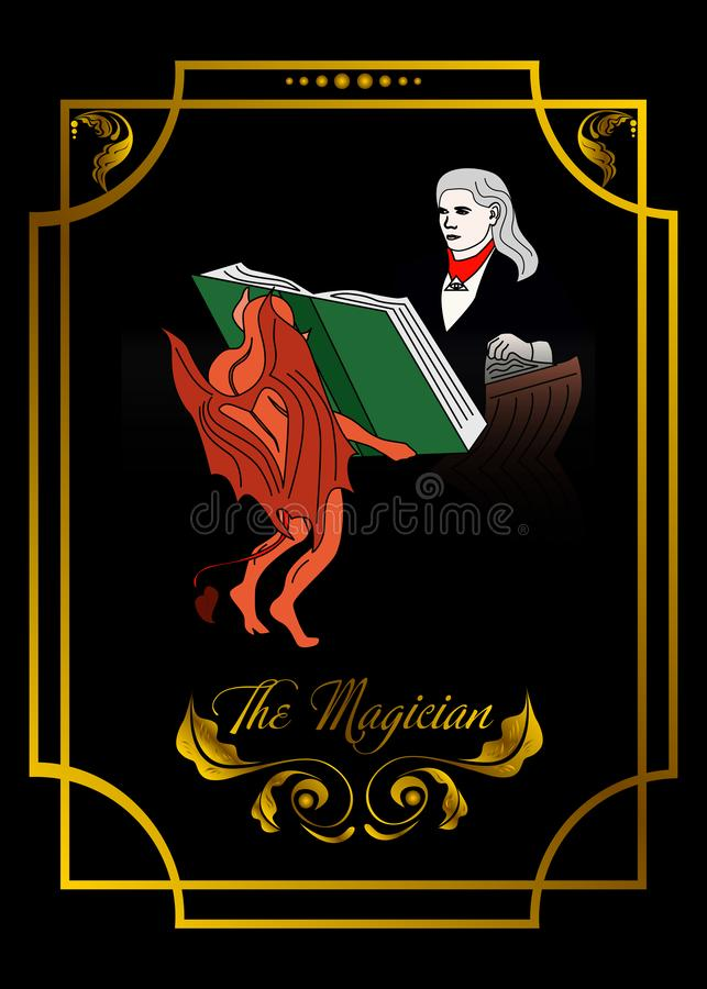 La tarjeta del hombre del mago es tarjeta mágica para el taro con el hombre 5 libre illustration