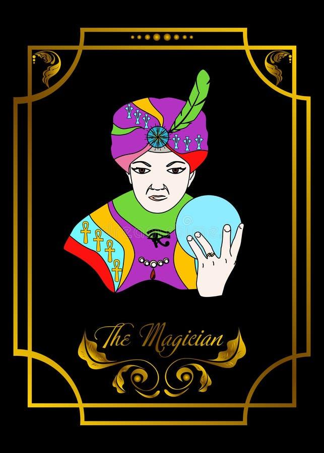 La tarjeta del hombre del mago es tarjeta mágica para el taro con el hombre 7 stock de ilustración