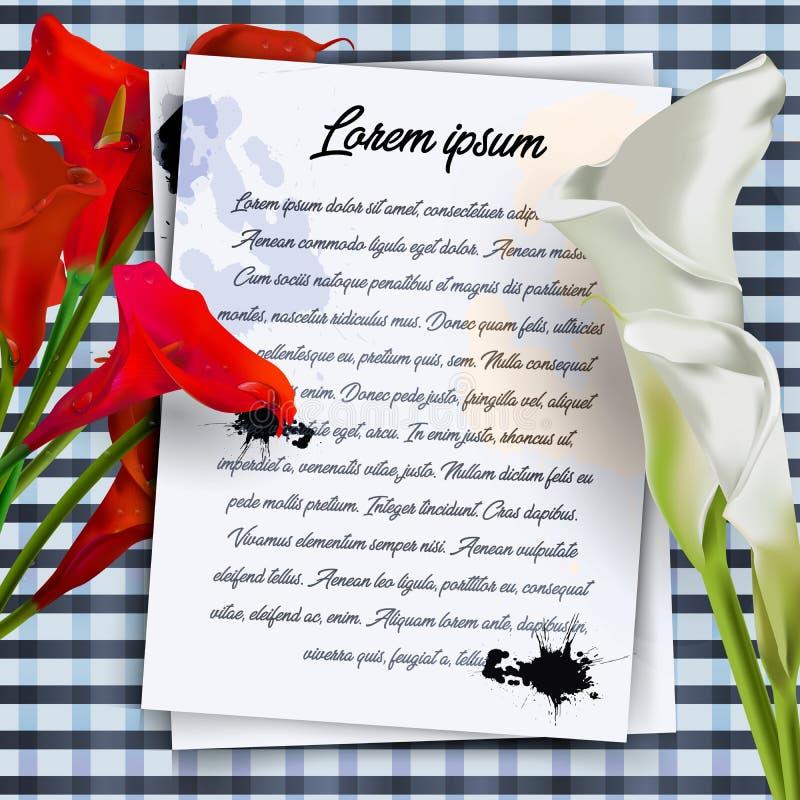 La tarjeta del Libro Blanco con la frontera adornada con las ramas del flor blanco de la magnolia florece en fondo azul caliente  stock de ilustración