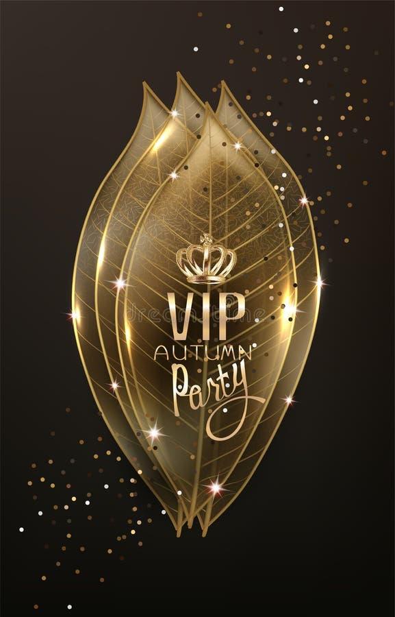 La tarjeta del otoño del VIP con el esqueleto del oro se va y el polvo de oro stock de ilustración