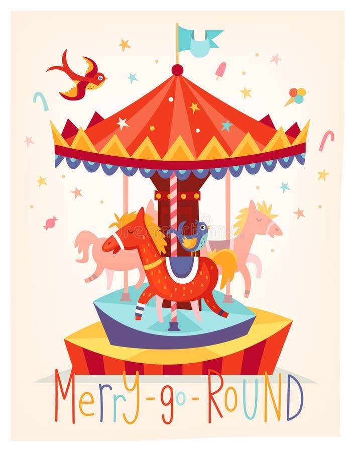 La tarjeta del vector con feliz va carrusel de la ronda Cartel del festival de la feria de diversión stock de ilustración