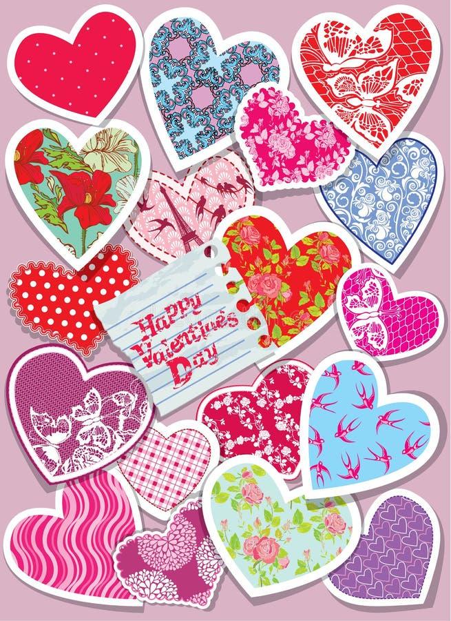 La tarjeta del vintage con diversos colores y los ornamentos empapelan corazones - ilustración del vector