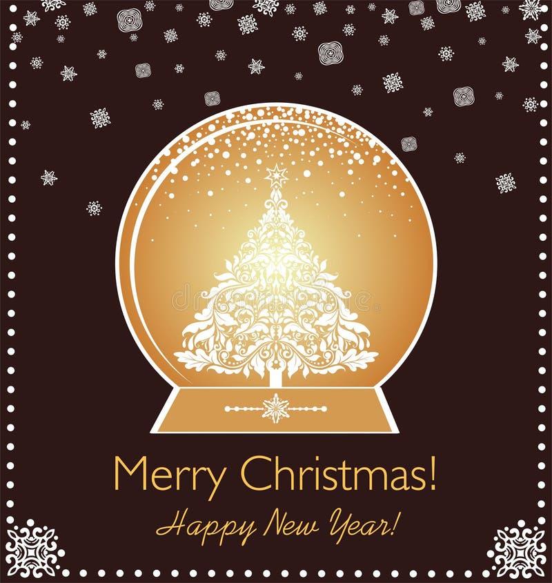 La tarjeta del vintage de Navidad del saludo con el papel cortó el globo de oro, el árbol de Navidad y los copos de nieve libre illustration