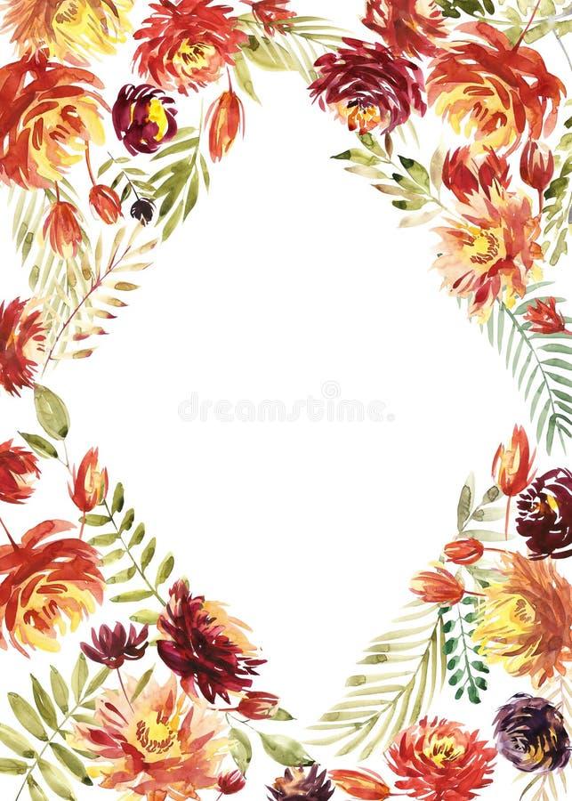 La tarjeta del vintage, diseño de la invitación de la boda de la acuarela con la peonía roja, se va Fondo de la flor con los elem ilustración del vector