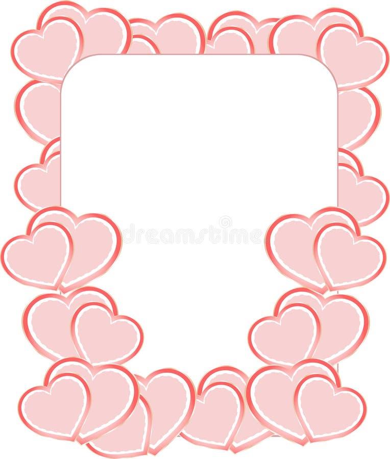 La tarjeta en blanco en confeti de la tarjeta del día de San Valentín hace de corazones stock de ilustración