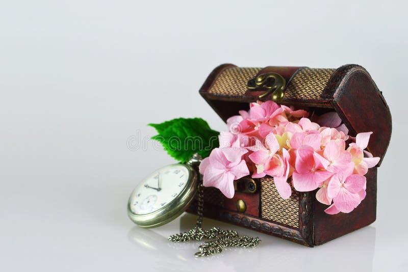 La tarjeta feliz del aniversario con la hortensia florece en cofre del tesoro fotos de archivo libres de regalías