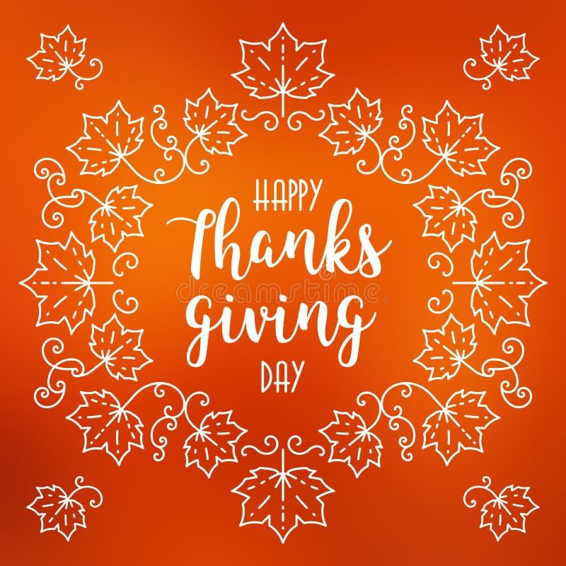 La tarjeta feliz del día de la acción de gracias, otoño empañó el fondo, marco de las hojas de arce ilustración del vector