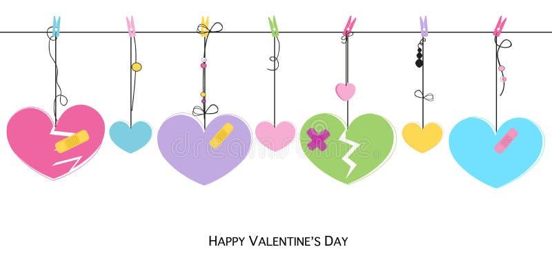 La tarjeta feliz del día de tarjetas del día de San Valentín con los corazones quebrados colgantes vector la tarjeta de felicitac libre illustration