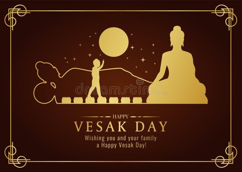 La tarjeta feliz del día del vesak con la natividad de Buda del oro, vierte, muestra del nirvana y diseño del vector del tiempo d ilustración del vector