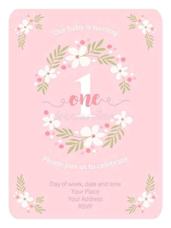 La tarjeta linda de la invitación del vintage uno con la mano dibujada florece stock de ilustración
