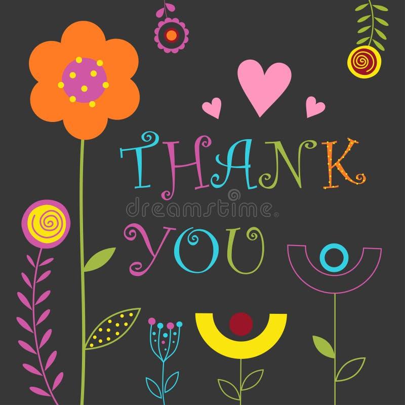 La tarjeta linda floral le agradece stock de ilustración