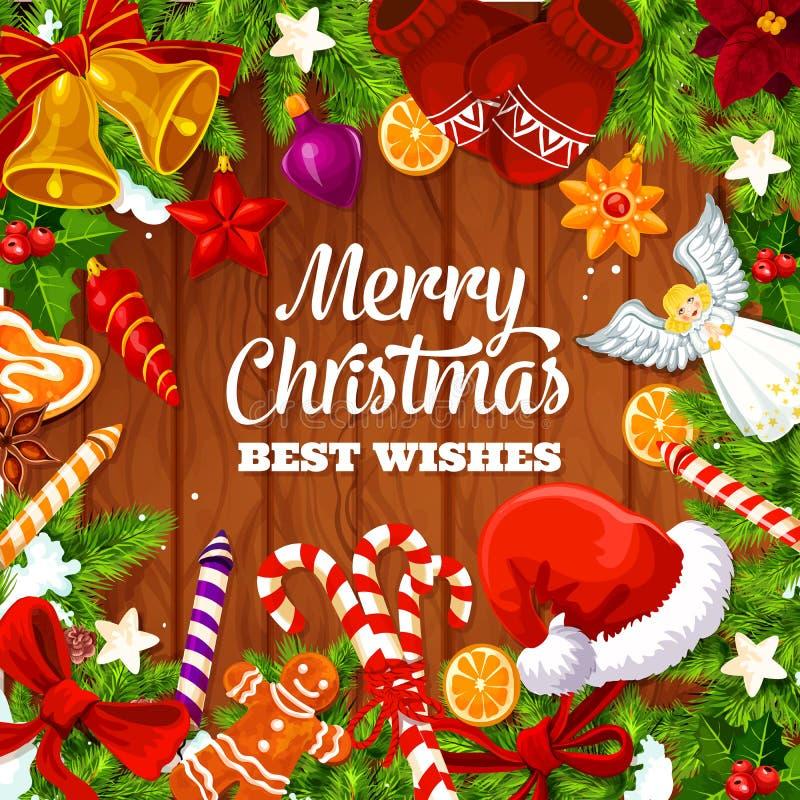 La tarjeta, los deseos y los regalos de felicitación de la Navidad diseñan libre illustration