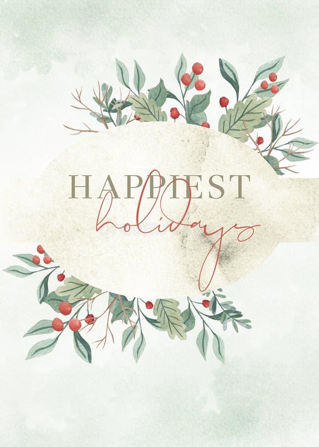 La tarjeta más feliz del día de fiesta de la acuarela de la Navidad verde del follaje ilustración del vector
