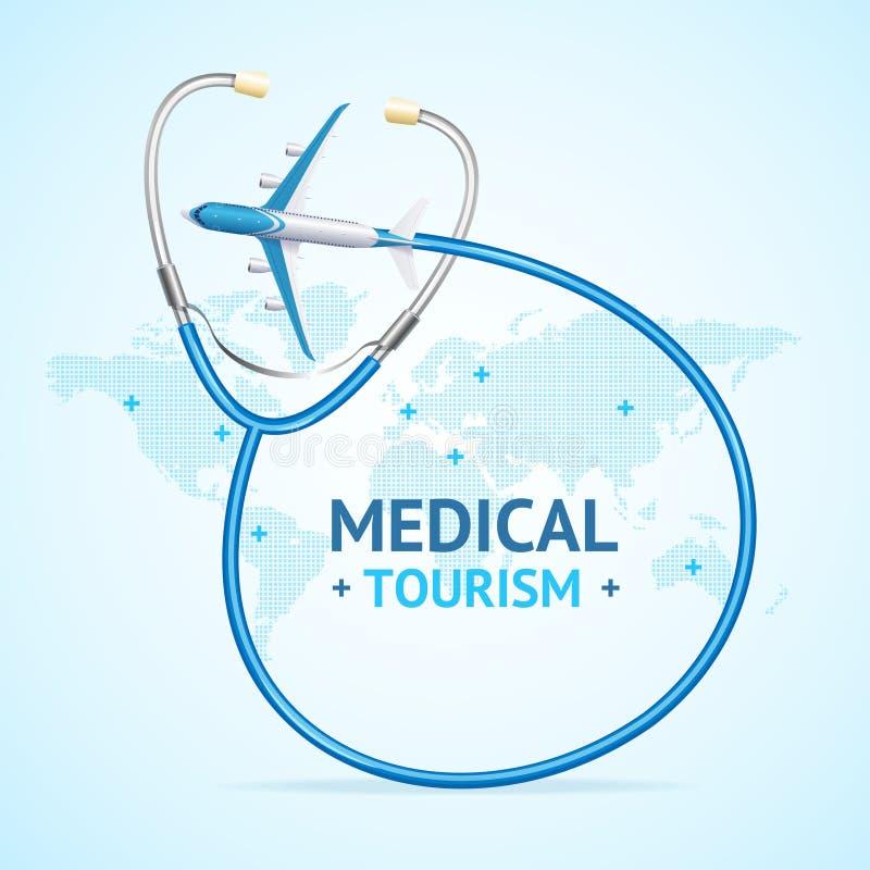 La tarjeta médica de la bandera del concepto del turismo con 3d realista detalló elementos Vector libre illustration