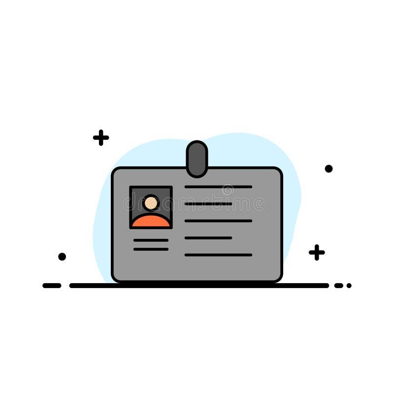 La tarjeta, negocio, corporativo, identificación, tarjeta de la identificación, identidad, línea plana del negocio del paso llenó stock de ilustración
