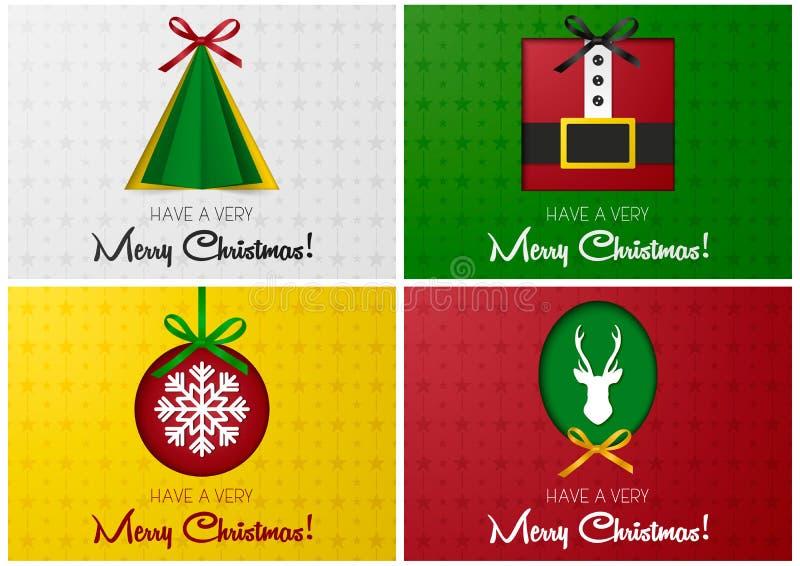 La tarjeta o la bandera de felicitación de la Feliz Navidad fijada con la bola del árbol, de santa, de los ciervos y de la Navida libre illustration