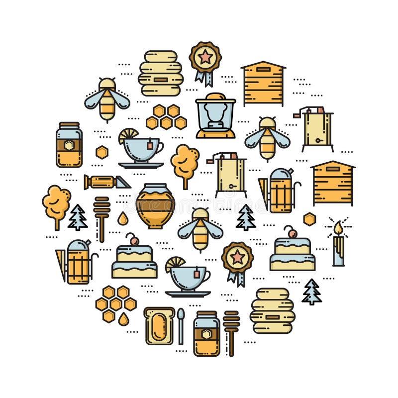 La tarjeta redonda con la línea del colmenar, de la abeja y de la miel coloreó iconos libre illustration