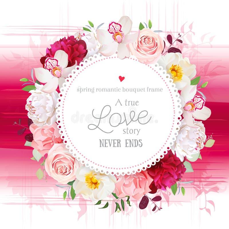 La tarjeta redonda del vector floral elegante con blanco y la peonía roja de Borgoña, subió, orquídea, flores del clavel, plantas stock de ilustración