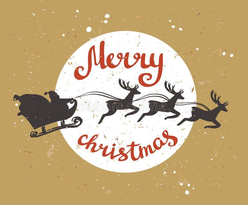 La tarjeta retra de la Feliz Navidad con Santa Claus monta en un trineo en arnés en los renos ilustración del vector