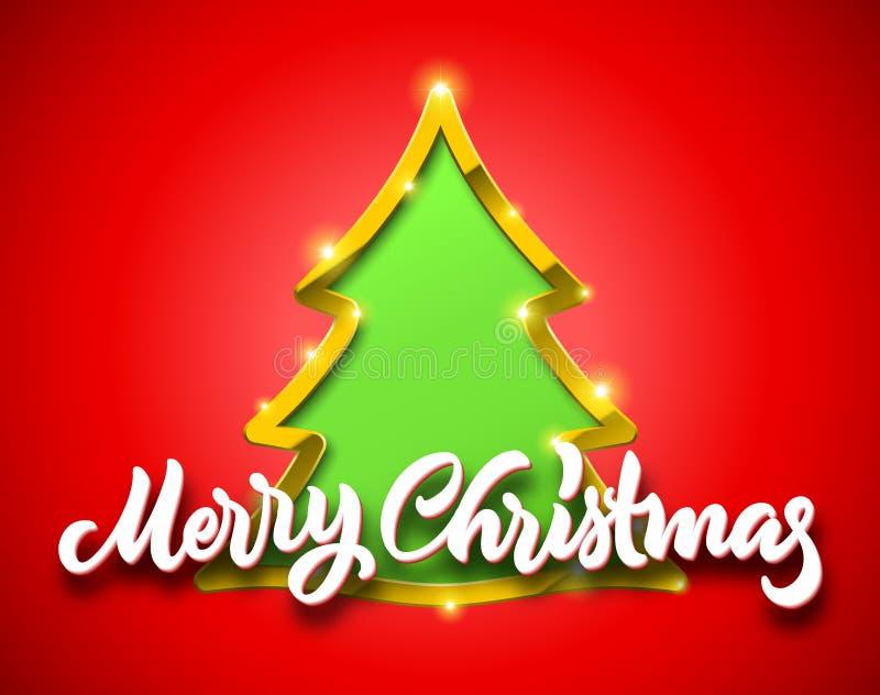La tarjeta roja de la Feliz Navidad con las letras caligráficas handdrawn y el árbol de abeto verde firman con la frontera de oro ilustración del vector
