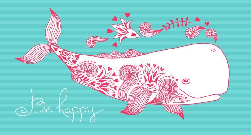 La tarjeta sea feliz con la ballena stock de ilustración